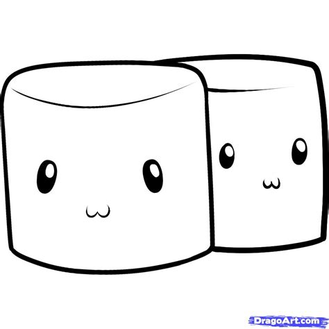marshmellow clipart drawing pencil and in color