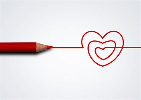 stock   red pencil drawing heart love