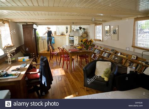 Living On A Boat In The Netherlands by Amsterdam Netherlands The Interior Of A Houseboat Stock