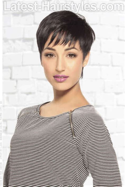 short versatile style with sweeping fringe short over the