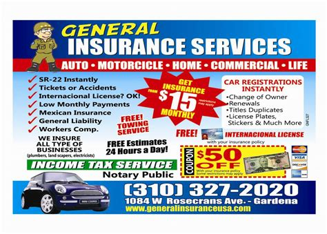 Flyer English From General Insurance In Gardena, Ca 90247