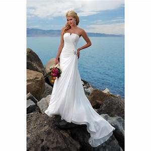 strapless simple beach wedding dress with chapel train With strapless beach wedding dresses