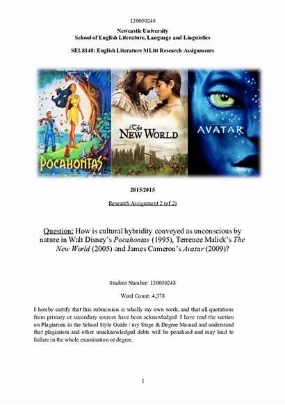 Pocahontas Avatar Hybridity Cultural Cameron James Unconscious