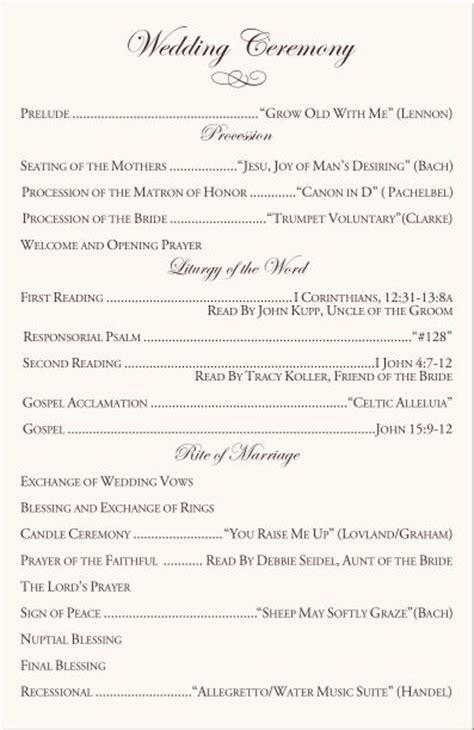 catholic wedding vows program samples   cultural