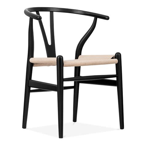 hans wegner style black wishbone chair with seat