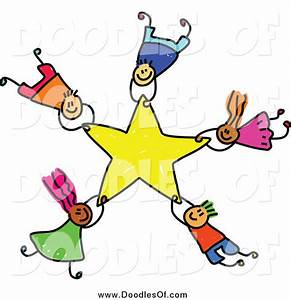 Vector Clipart of Doodled Kids Falling with a Star by ...