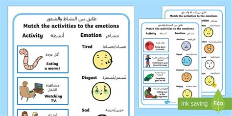 Emotions Worksheet / Worksheets Arabic Translation Arabic