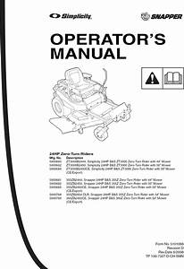 Snapper 355zb2444 User Manual Hydro Drive Ztr Manuals And