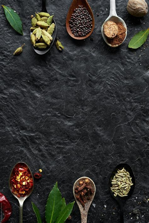 Background menu makanan background check all sumber backgroundcheckall.com. Border frame of asian spices and seasonings on slate with ...