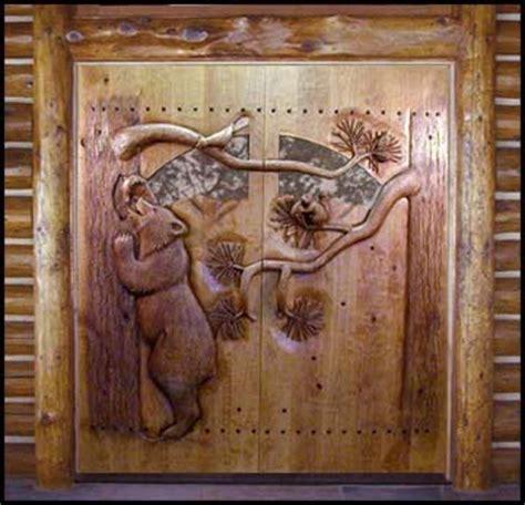 carved  ramsey carved wood doors wildlife carving