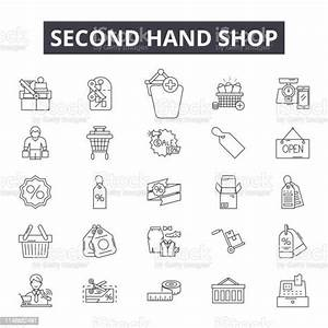 Second, Hand, Shop, Line, Icons, Signs, Vector, Set, Linear