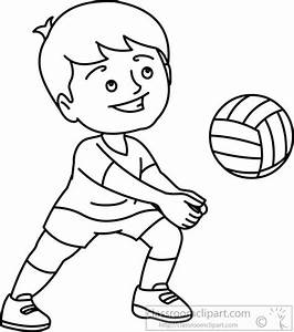 Sports : playing-beach-vollyball-black-white-outline ...