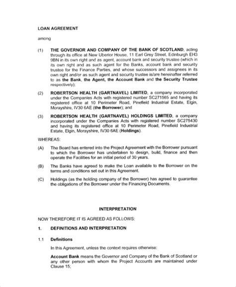 Investor Financing Agreement Template by 7 Sle Business Loan Agreements Sle Templates