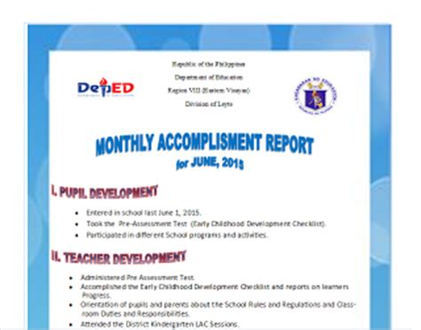 sample monthly accomplishment report june march taga