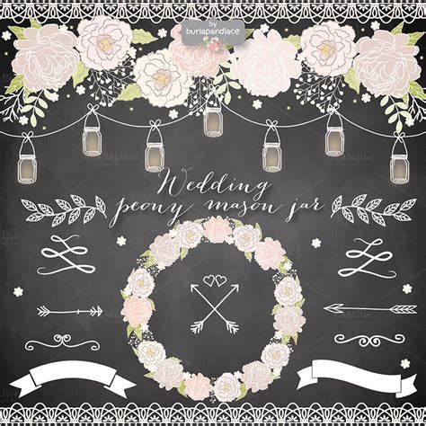 Ee  Wedding Ee   Rustic Peony Mason Jar Clipa Illust Ions On