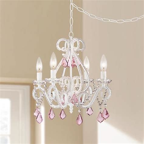 scroll white and pink 16 quot wide swag chandelier