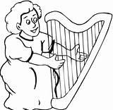Harp Coloring Kidsuki Sheets sketch template