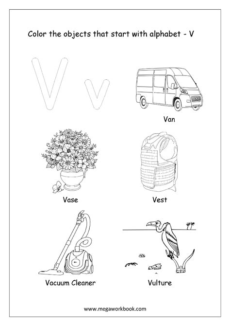 colors that start with v alphabet picture coloring pages things that start with