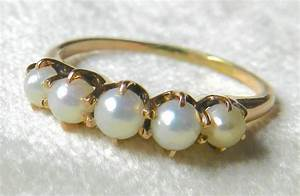 Antique Pearl Wedding Band 14k Rose Gold Victorian Pearl ...