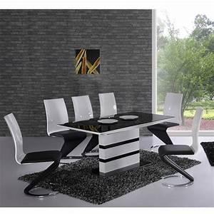 Deco in paris table 6 chaises design noir et blanc elyse for Meuble salle À manger avec chaise noir et blanc