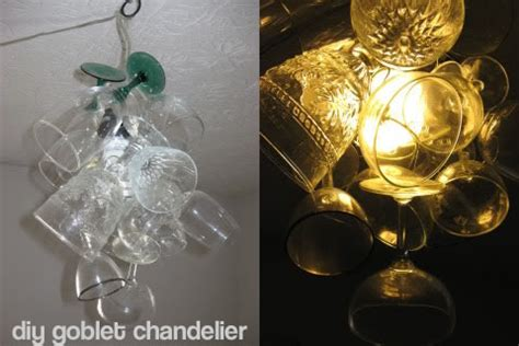 diy wine glass chandelier dollar store crafts