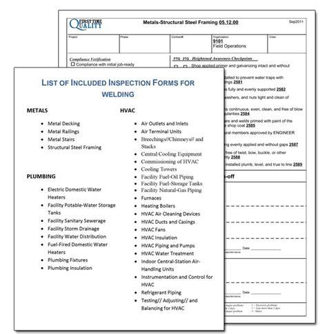 welding contractor inspection form sample