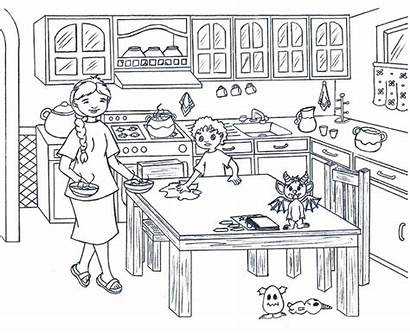 Kitchen Coloring Clipart Cartoon Colouring Dining Colorear