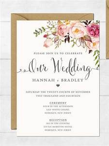 16 printable wedding invitation templates you can diy for Wedding invitations black with flowers