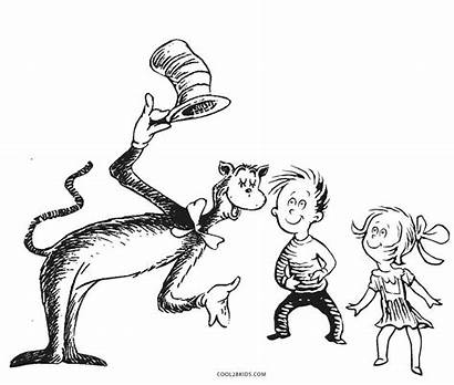 Seuss Dr Coloring Pages Printable Hat Characters