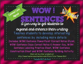 wow sentences enhance expand  sentences tpt