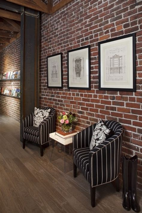 brick wall interior accent chairs design ideas