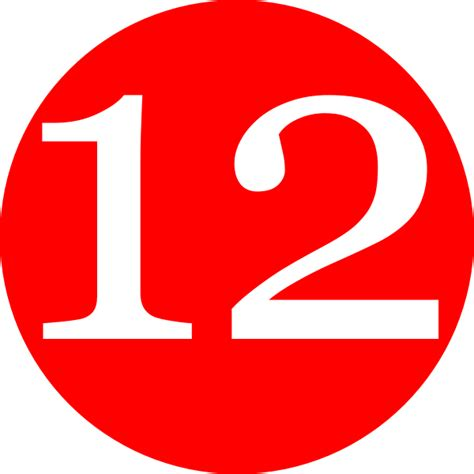 Red, Rounded,with Number 12 Clip Art At Clker.com