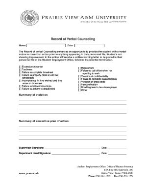 free counseling forms templates verbal warning template forms fillable printable sles for pdf word pdffiller