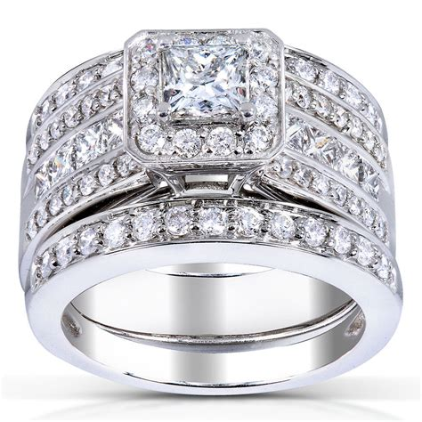 princess cut diamond 3 piece bridal ring set 1 4 5 carat