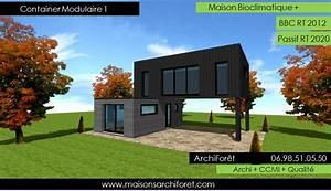 maison container modulaire ossature bois d architecte With plan maison avec patio 17 maison container modulaire ossature bois d architecte