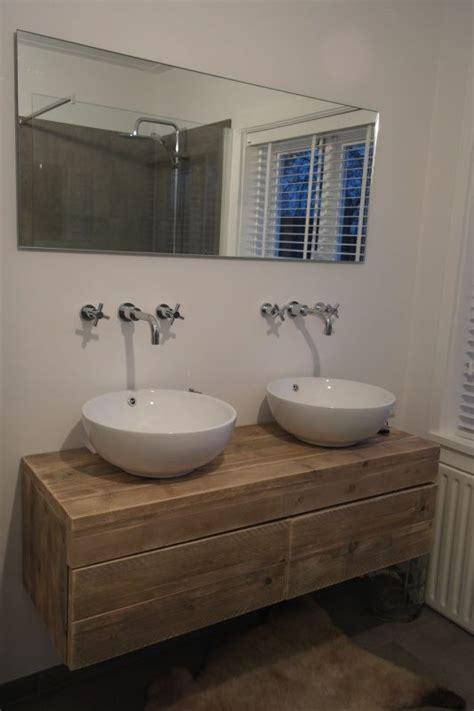 badkamermeubel tekening badkamermeubel zwevend van steigerhout met 2 lades naast