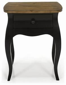 evelyn chevet romantique noir 1 tiroir classique table With table de chevet classique