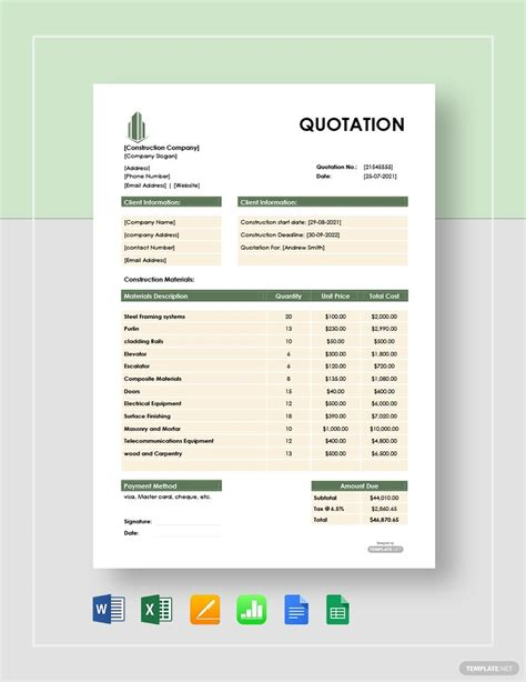 FREE Construction Material Quotation Template - Word (DOC ...