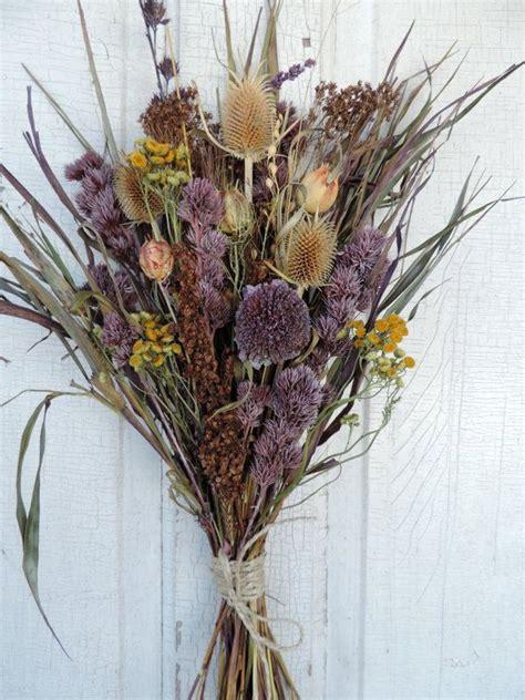 dried flower bouquet floral arrangement thistle purple