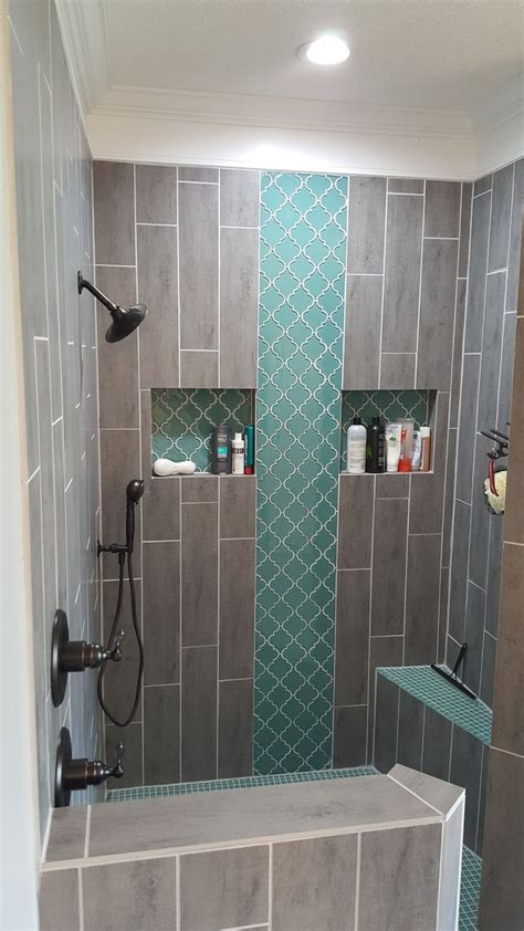 tiled shower shelf best 25 vertical shower tile ideas on grey