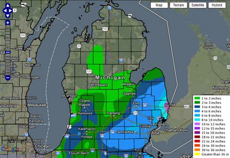 map shows  buried  snow west michigan