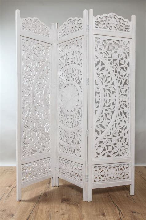 paravent mangoholz mandala kalkweiss crafts projects room deviders portable room dividers tv decor