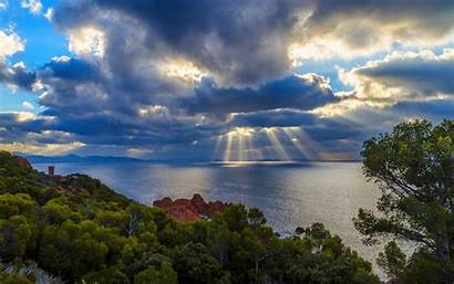 Sun Rays Clouds Sky Water Nature Trees