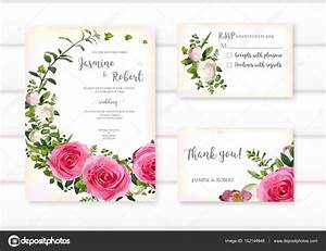 set of flower hot pink rose green leaves wreath wedding With wedding invitation flower ornaments