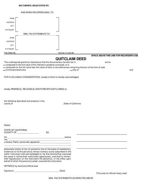 quit claim form california free individual quitclaim deed california free download