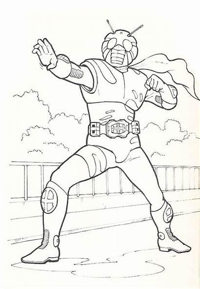 Rider Coloring Kamen Action Pages Netart