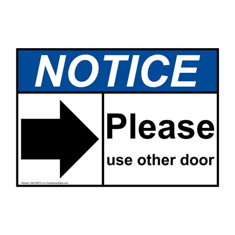 use other door ansi notice use other door sign with symbol ane 28573