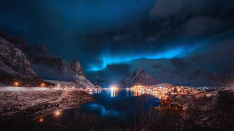 aurora borealis  reinefjord hd wallpaper wallpaper