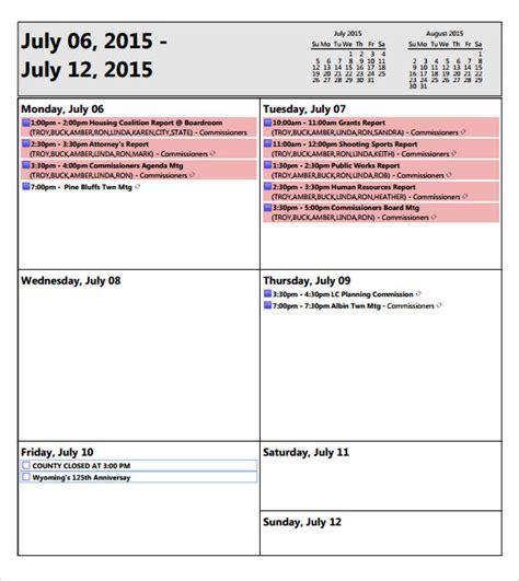 Weekly Meeting Calendar Template by 10 Weekly Agenda Sles Sle Templates