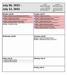 weekly agenda sample 9 documents pdf word With weekly meeting calendar template